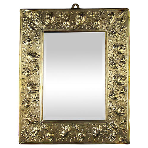 English Repoussé Brass Mirror