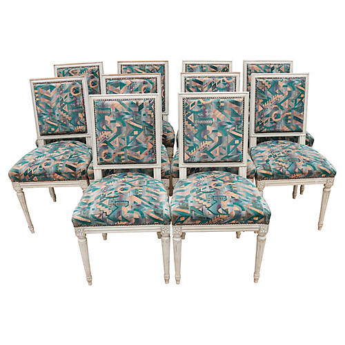 Louis XVI Style Dining Chairs, Set 10