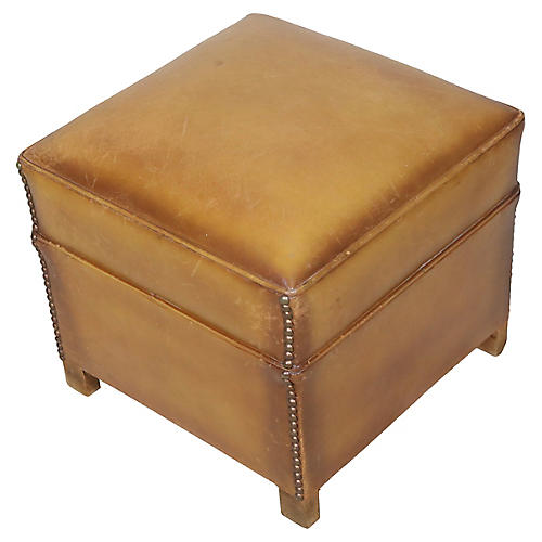 French Leather Club Ottoman