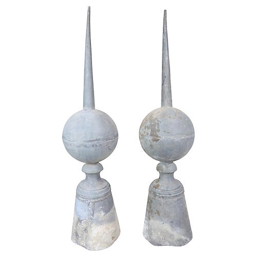 French Roof Finials, Pair