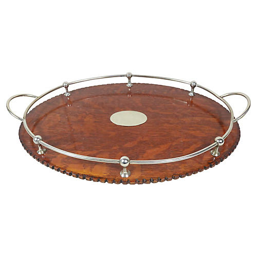 English Sheffield & Oak Serving Tray