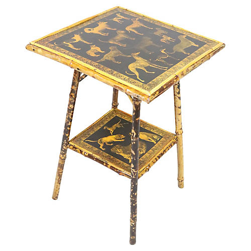 English Victorian Bamboo Table w/ Dogs