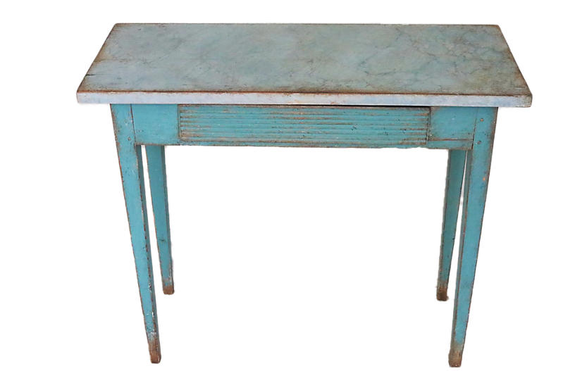 Blue Gustavian Console Table w/ Drawer