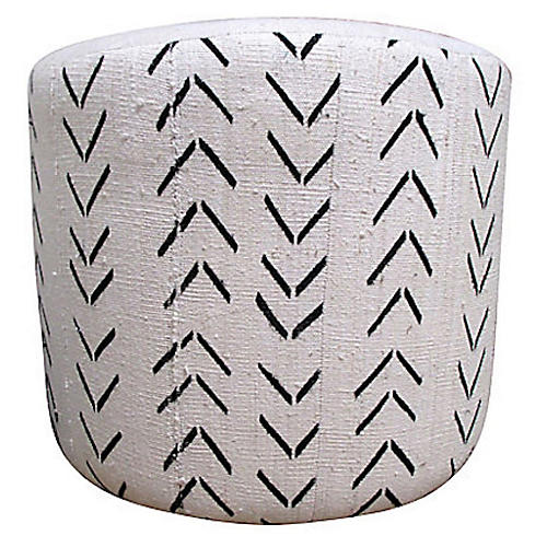African Tribal & French Linen Ottoman