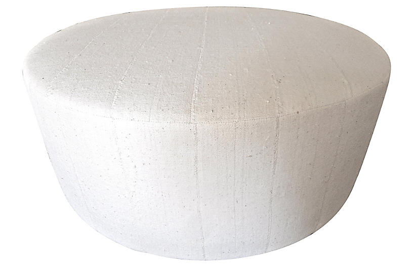 Natural Mali Hand-Spun Mud Cloth Ottoman