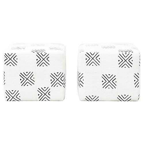 Natural Hand-Woven Ottomans, Pair