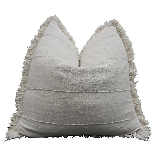 Natural Fringe Mud Cloth Pillow, XL