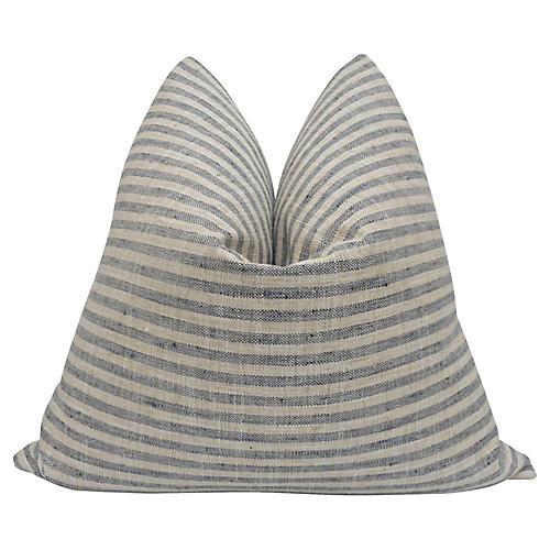 Blue & Sand Woven Ticking Pillow