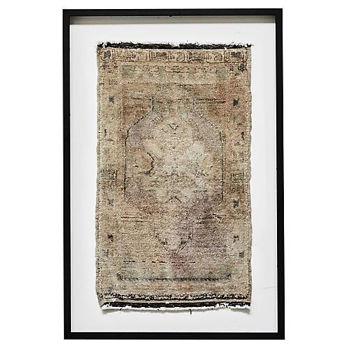 Framed Oushak Rug Textile Art