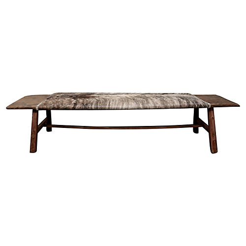 Shandong Bench w/ Brindle Hide