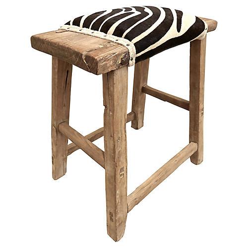 Shandong Elm Stool w/ Zebra Pattern Hide