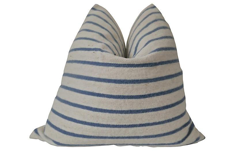 Blue & Natural Wool Pillow