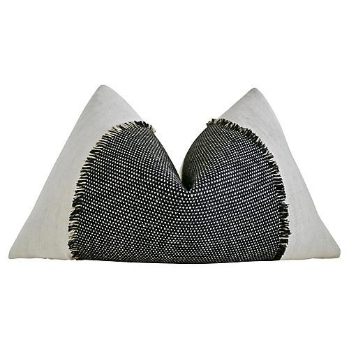 Vintage Hemp Linen & Black Woven Pillow