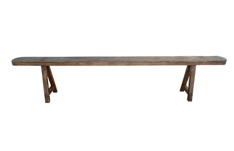 Vintage French Hardwood Long Bench, 84