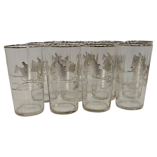Silver Equestrian Highball Glasses, S/12