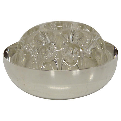 Christofle Silver Bowl & Glass Frog, S/2