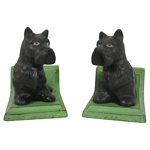 Iron Black Scottie Dog Bookends, Pair