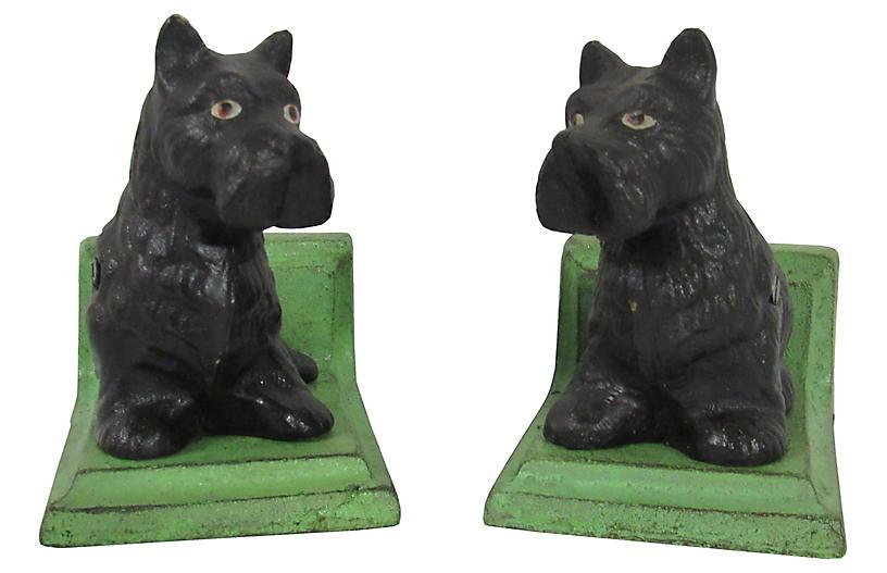 Iron Black Scottie Dog Bookends, Pair