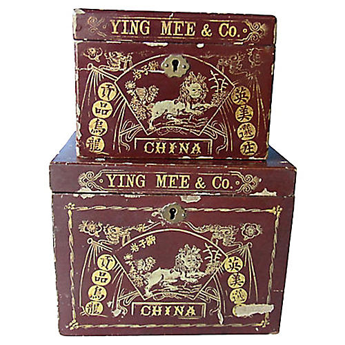 Antique Gilt Chinese Tea Caddies, Pair