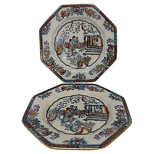 Antique English Chinoiserie Plates, Pair