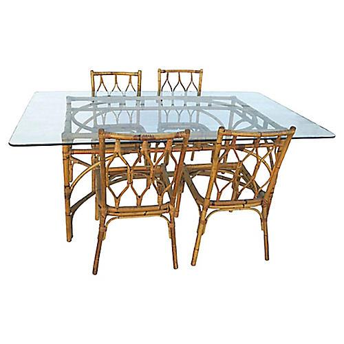 Bamboo Dining Set, 5 Pcs