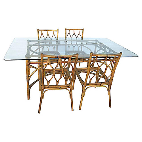 Bamboo Dining Set, 5 Pcs