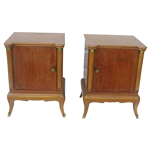 French Art Deco Maple Nightstands, S/2