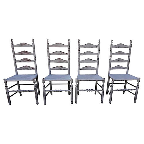 Gustavian-Style Ladderback Chairs S/4