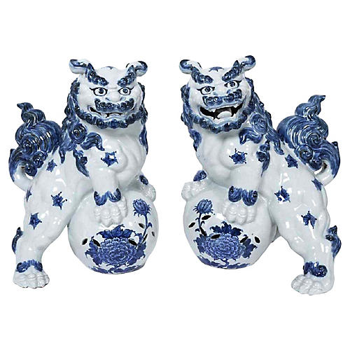 Large Antique Pair Blue&White Foo Dogs