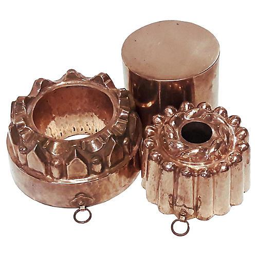 Antique English Copper Molds S/3