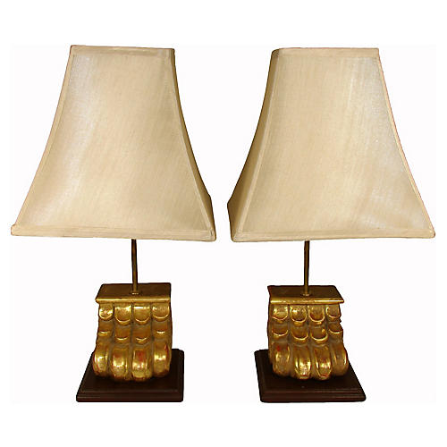 Italian Lion Paw Lamps, Pair