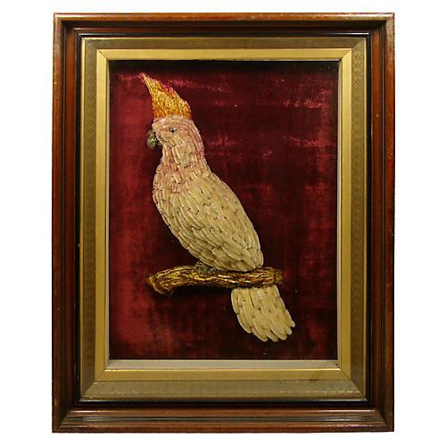 Woolwork Cockatoo Shadow Box, C. 1830