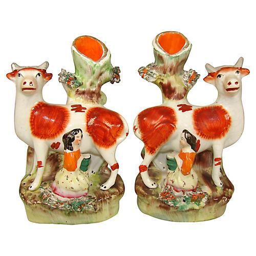 Staffordshire Spill Vases, Pair