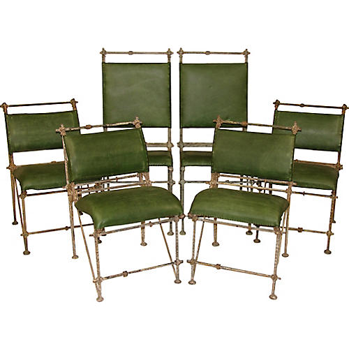 Iron And Leather Chairs, S6