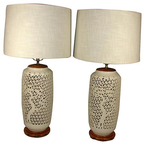 Pierced Porcelain Lamps, Pair