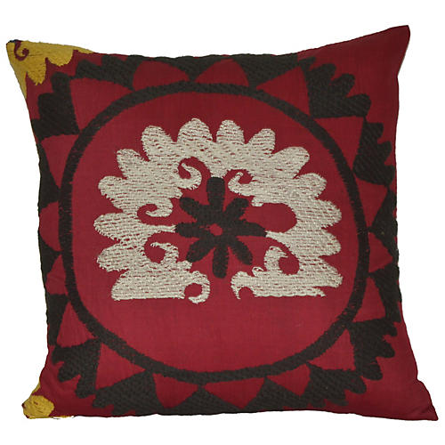 Silver Sunrise Suzani Pillow