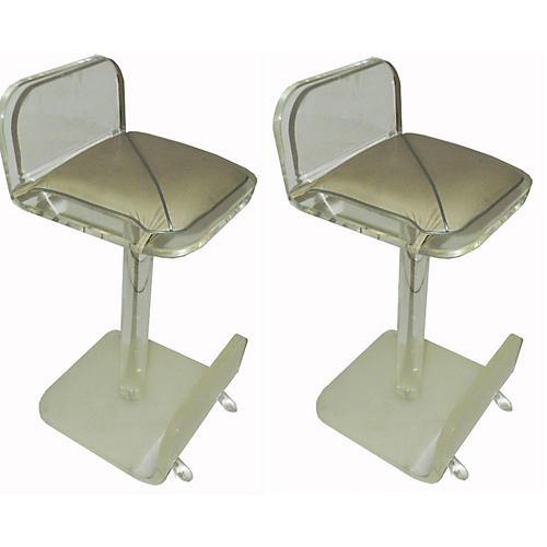 Karl Springer-Style Stools, Pair