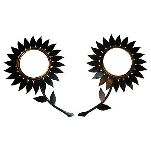 Chaty Flower/Sunburst Mirrors, S/2