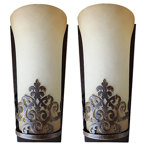 Art Deco-Style Sconces, Pair