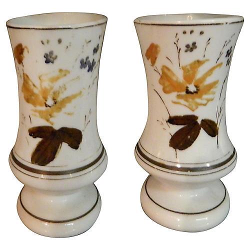 White Opaline Vases, Pair