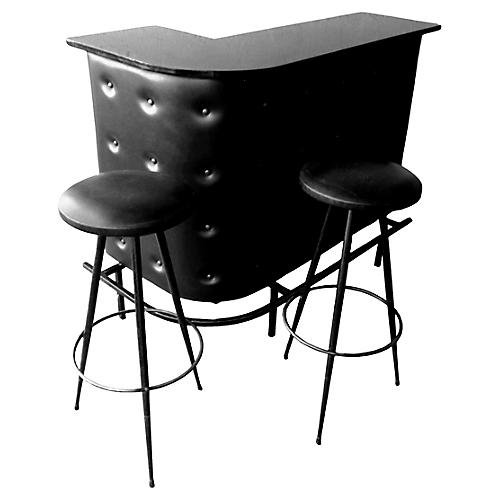 Jacques Adnet Bar & Stools, 3 Pcs