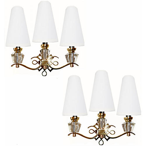 Jules Leleu Bronze Sconces, Pair