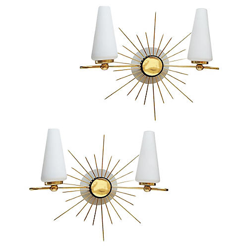 Maison Lunel Sun Sconces, Pair