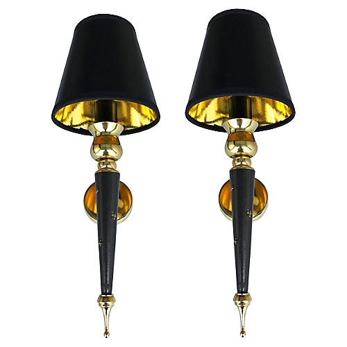 Jacques Adnet Sconces, Pair