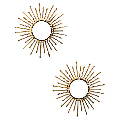 Chaty Sunburst Mirrors, Pair
