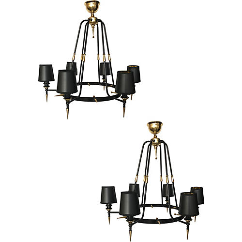 Stilnovo 6-light Chandeliers, Pair