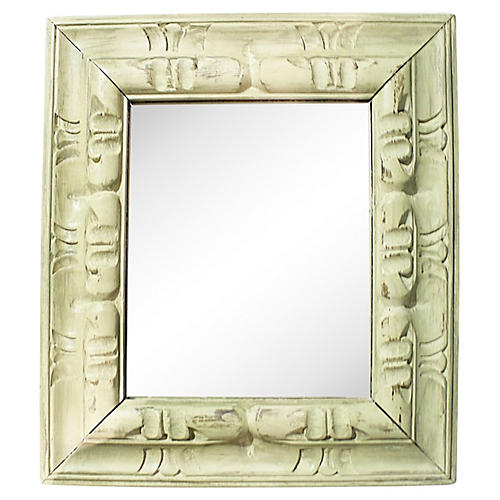 Celadon Painted Mirror