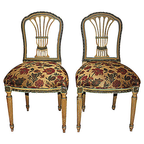 French Painted Chairs, S/2