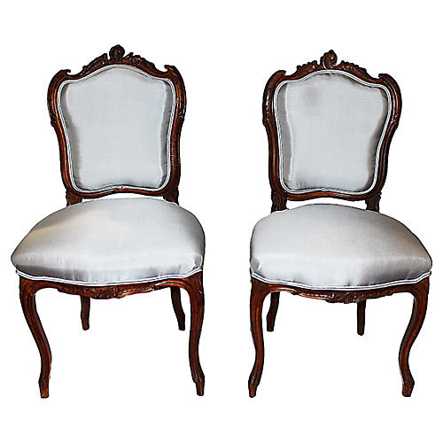 French Salon Chairs, Pair