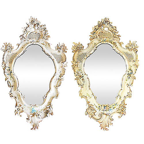 Large Carved Ventian Mirrors, Pair